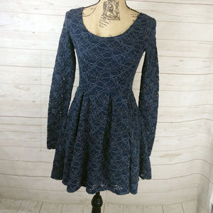 Free People a-line long sleeve dress eyelet lace